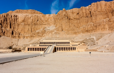 thebes: The entrance to the desert temple of Queen Hatshepsut near the Egyptian city of Luxor