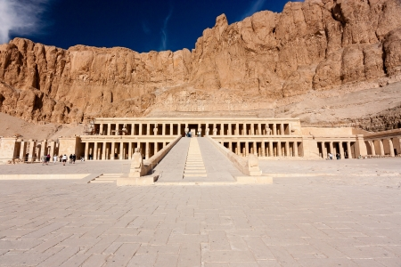 king of kings: The entrance to the ancient temple of Hatshepsut in Luxor, Egypt