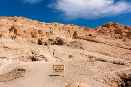 valley of the temples:  Attention - Climbing the mountains is not allowed  warning sign at the Hapshepsut Temple complex in Luxor, Egypt