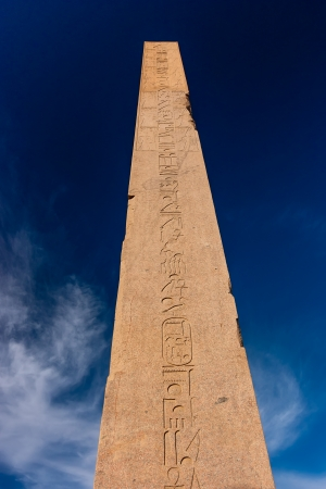 A tall imposing ancient Egyptian obelisk in the Karnak Temple, Luxor, Egypt Stock Photo - 17249799