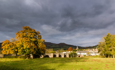 rural town: Autumnal trees around a rural town with a stormy grey sky