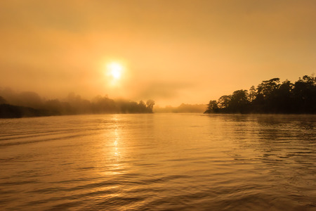 Mist over a jungle river at sunrise photo