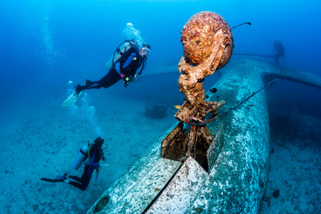 SCUBA divers explore the undercarriage of an underwater plane wreck