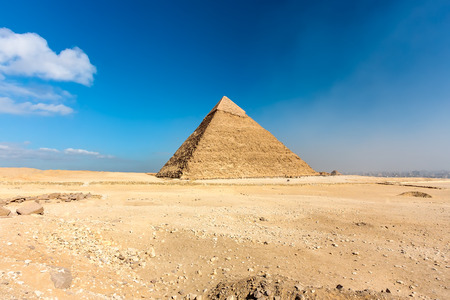 The pyramid of Khafre with no sign of tourists sits on a plateau above the Egyptian captain, Cairo  Stock Photo