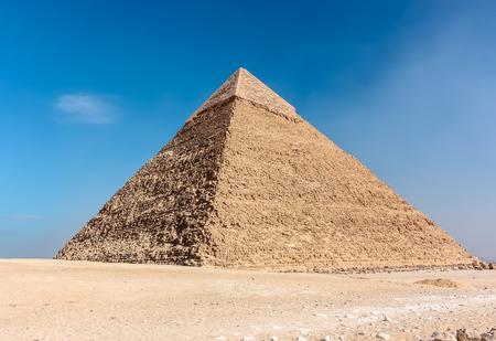 masr: The pyramid of Khafre  on the desert plateau above Cairo