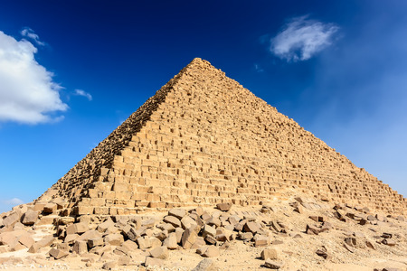 The pyramid of Menkaure with the original outer stones at its base