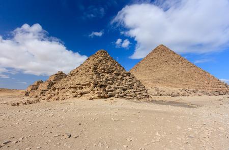 masr: Several smaller Pyramids at the Giza necropolis above Cairo, Egypt Stock Photo
