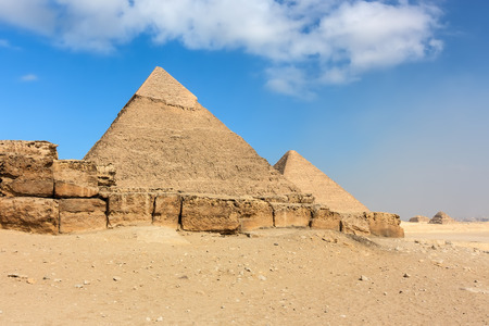 masr: The ancient Great  Cheops  and 2nd Pyramids above the city of Cairo, Egypt