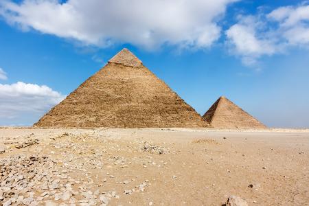 masr: A deserted area around the 2 main ancient pyramids at Giza, Cairo