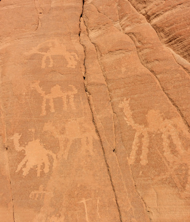 ancient civilisations: Ancient rock drawings in the Sinai desert Stock Photo