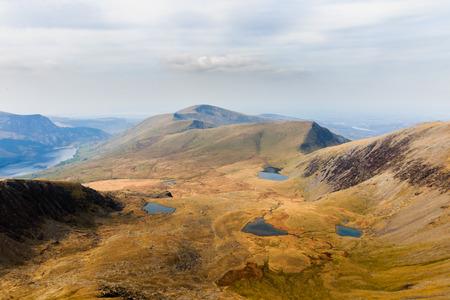snowdonia: Many small lakes in a mountainous area of Snowdonia Stock Photo