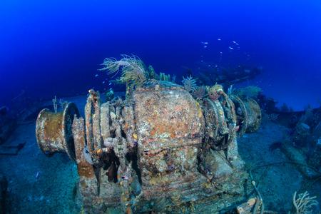 Winch machinery on an underwater shipwreck Stock Photo
