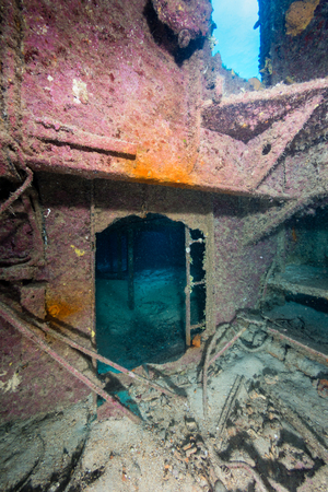Inside an old shipwreck in the Caribbean Stock Photo
