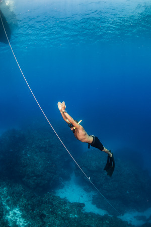 freediving: Freediver ascending from a dive