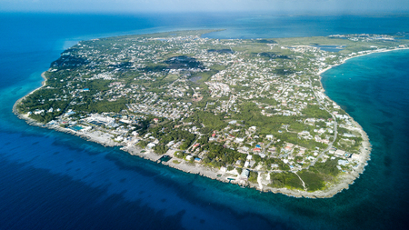 Aerial view of Grand Cayman island in the Caribbean