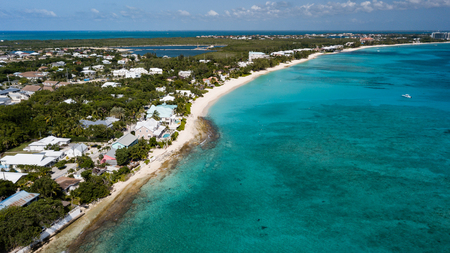 Aerial view of Seven Mile Beach on Grand Cayman (BWI)
