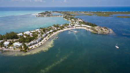 Aerial view of the Kaibo Cai area of Grand Cayman 스톡 콘텐츠