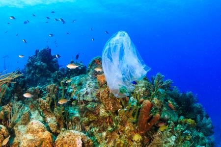Plastic vervuiling: - een afgedankte plastic vuilniszak drijft op een tropisch koraalrif dat een gevaar vormt voor het leven in zee
