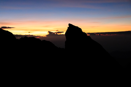 crater lake: Sunrise on the crater rim of Balis Mount Agung volcano Stock Photo