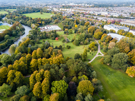 Cardiffs Bute Park during the autumn viewed from the air