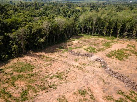 Luchtfoto drone-weergave van ontbossing van een tropisch regenwoud om plaats te maken voor palmolie en bouw