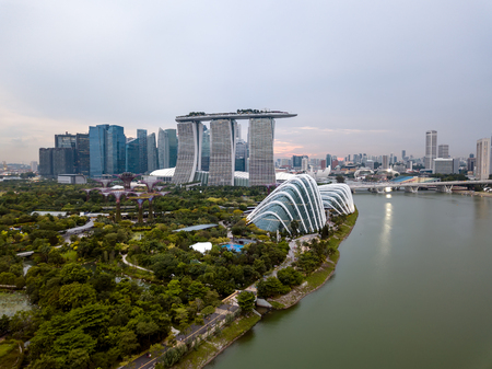 Aerial drone view of Singpore City Skyline at dusk Editorial
