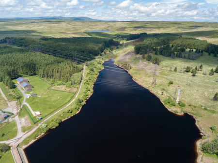 Aerial view of the Carno and Garnlydan reservoirs near the town of Ebbw Vale in the South Wales valleys Stock Photo