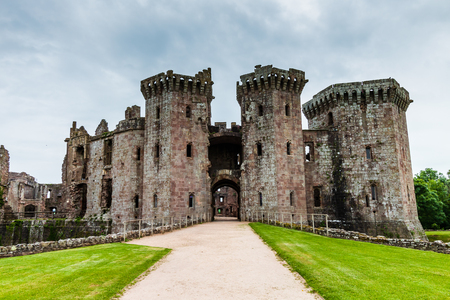 Main entrance to the ruins of medieval Raglan Castle in Wales