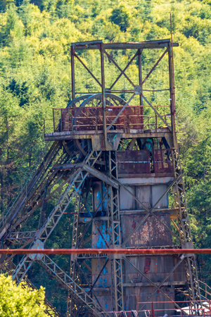 Wheel and winch system of a long since closed and abandoned coal mine (Tower Colliery, Wales)