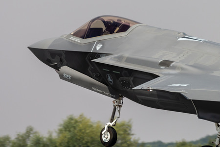 FAIRFORD, ENGLAND - JULY 13: Lockheed Martin F-35A Lightning II Stealth Fighter of the USAF Heritage Flight performing at the Royal International Air Tattoo on July 13, 2018 at RAF Fairford, England.