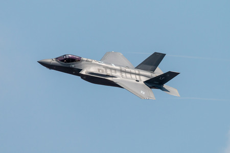 FAIRFORD, ENGLAND - JULY 13: Lockheed Martin F-35A Lightning II Stealth Fighter of the USAF Heritage Flight performing at the Royal International Air Tattoo on July 13, 2018 at RAF Fairford, England. Editorial