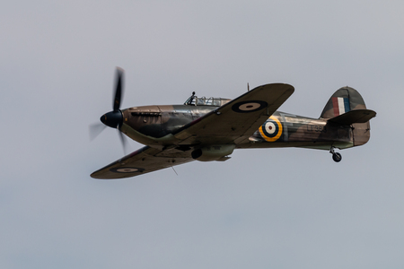 RAF FAIRFORD, ENGLAND - July 13, 2018: Hurricane aircraft of the Battle of Britain Memorial Flight performing at the Royal International Air Tattoo 2018 at RAF Fairford, England