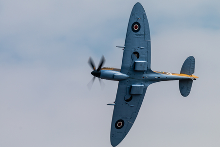 RAF FAIRFORD, ENGLAND - July 13, 2018: A Supermarine Spitfire of the Battle of Britain Memorial Flight at the Royal International Air Tattoo 2018 at RAF Fairford, England Editorial