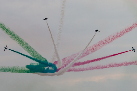 RAF FAIRFORD, ENGLAND - July 13, 2018: Frecce Tricolori formation display team of the Italian Air Force (Aeronautica Militare Italiana) at the Royal International Air Tattoo 2018 at RAF Fairford, England