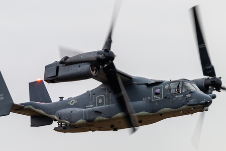 FAIRFORD, ENGLAND - JULY 13: A Bell-Boeing CV-22B Osprey tilt rotor aircraft of US Special Forces Command at the Royal International Air Tattoo on July 13, 2018 at RAF Fairford, England.