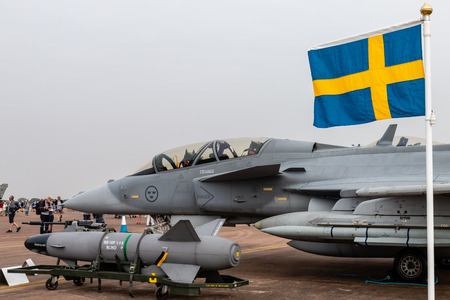 FAIRFORD, ENGLAND - JULY 13: A Swedish Air Force Saab Gripen multirole fighter at the Royal International Air Tattoo on July 13, 2018 at RAF Fairford, England.