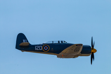 RNAS YEOVILTON, ENGLAND - July 07, 2018: A Hawker Sea Fury T20 displays at the Yeovilton International Air Day at RNAS Yeovilton, England