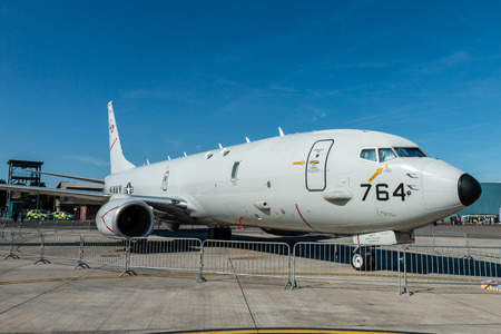 RNAS YEOVILTON, ENGLAND - July 07, 2018: A United States Navy P-8A Poseidon Maritime Patrol Aircraft on display at the Yeovilton International Air Day at RNAS Yeovilton, England Editorial