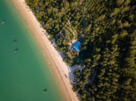Aerial drone view of a beautiful tropical beach in Khao Lak, Thailand (Coconut Beach)