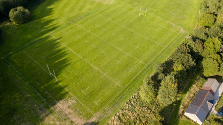 Aerial drone view of a Rugby Union sports pitch marked out before a match