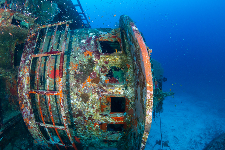 A coral encrusted underwater shipwreck in the Similan Islands