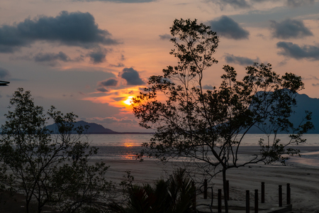 Tropical sunset over the ocean at low tide in a mangrove forest in Borneo