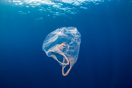 Underwater pollution:- A discarded plastic carrier bag drifting in a tropical, blue water ocean Zdjęcie Seryjne - 112643693