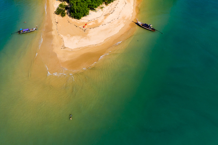 Aerial view of a small, beautiful tropical island with sandy beach (Ko Nok, Thailand)