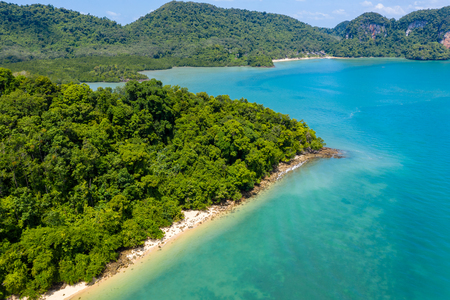 Aerial view of an empty tropical sandy beach surrounded by lush green forest