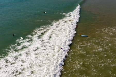 Aerial view of surfers in shallow water in Khao Lak, Thailand Stock fotó