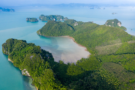 Aerial view of the rugged, beautiful island of Koh Yao Noi in the Phang Nga bay area of Thailand