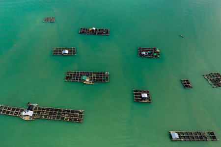 Aerial view of large scale traditional floating fish farms on Koh Yao Noi island, Thailand Stock Photo