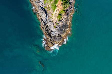 Aerial view of a rocky peninsula leading into a tropical oceal (Promthep Cape, Phuket) Stock fotó