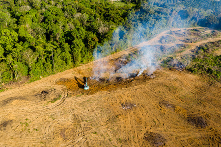 Aerial view of deforestation.  Rainforest being removed to make way for palm oil and rubber plantations Archivio Fotografico